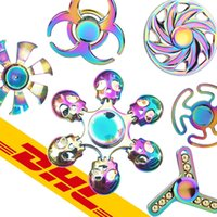 Wholesale Triangle Hand Spinner Finger Rainbow Colorful Decompression Anxiety ADHD EDC Gyro Aluminium Alloy Toys Metal Crab Fidget