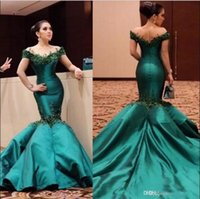 Wholesale Beaded Off White Elegant Shirts - 2017 Emerald Green Elegant Off Shoulders Mermaid Prom Dresses Lace Appliques Beaded Backless Evening Party Gowns