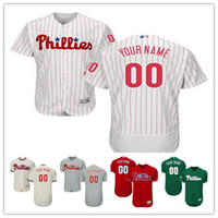 Wholesale Cream Philadelphia - Stitched Personalized Philadelphia Phillies Mens Flex Base Custom Baseball Cheap Jerseys Home White Gray Road Green Red Cream Size S,4XL