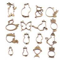 Wholesale Hollow Butterfly Charms - 16PCS Mixed Antique bronze Hollow butterfly rabbit cat owl Charms Pendant Jewelry Making Diy Charm Handmade Crafts H3006