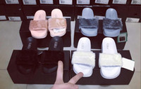 Wholesale Sandal Slippers - With Box & Dustbag 2016 New Rihanna Leadcat Fenty Color Slipper Faux Fur Burgundy Slide Slippers Ladies Indoor Purple Pink Sandals
