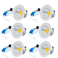 Vente en gros - 6pcs / lot 3W5W7W Dimmable Anti-éblouissement COB LED Circulaire Plafonnier Warm / Warm White (AC 85 ~ 265V)