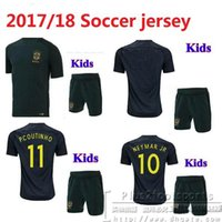 56c087ba0a3 17 18 kids Brazil Home soccer Jersey Kits 2017 2018 NEYMAR JR PELE OSCAR  D.COSTA DAVID LUIZ Brazil child youth Football Shirts