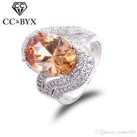 Compra Oro Bianco Gioielli All'ingrosso-CC gioielli all'ingrosso Vintage Big Stone Cocktail Anelli per le donne White Gold Party Femal Anello Bijoux Femme Crystal Jewellery CC240