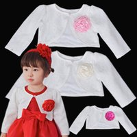 Wholesale Girl Coat Lace Winter - Newborn Baby Girls Lace Jacket Princess Long Sleeve Short Style Cardigan Outerwear Coat Baby Girls Party Dress Shawl White Color Cape Naist