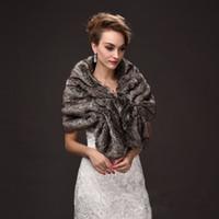 Wholesale Wedding Dress Coats For Women - Warm Faux Fur Wedding Capes Black Gray Color Mixture Evening Dress Wraps for Women Bolero Mariage Winter Coat