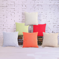Wholesale Linen Cotton Sofa - Pillow Case Solid Red Purple Cotton Linen Waist Pillow Cushion Case Cover Car Sofa Seat Chair Pillowcase Home Textile