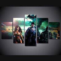 Wholesale Oil Painting 5pcs Woman - 5Pcs Set Framed HD Printed Superman Batman Wonder Woman Kid Room Wall Art Canvas Print Poster Canvas Pictures Painting
