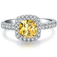 Wholesale Diamond Jewelery - Wholesale 2 ct Halo Style Cushion Cut Golden Stone Jewelery SONA Synthetic Diamond Ring For Women 925 Sterling Silver Jewelry