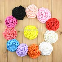 saten rozet saç toptan satış-20 adet / grup 3 Inç Büyük Saten Haddelenmiş Rozet Çiçekler kızlar DIY Saç Aksesuarları U Seçim Renk FH39