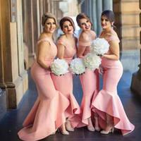 korallenröcke für brautjungfern großhandel-2017 Fitted Brautjungfern Kleider Blush Pink Coral Peach aus der Schulter Spitze Top High Low Asymmetrische Rock Bridemaid Kleid für Hochzeit