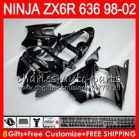 Wholesale Kawasaki Zx6r Fairings 98 - 8Gifts kit For KAWASAKI NINJA ZX636 ZX-6R ZX-636 600CC ZX 636 31NO70 ZX6R 98 99 00 01 02 ZX 6R 1998 1999 2000 2001 2002 Fairing