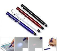 Wholesale Touch Phone Pointer - 4 in 1 Laser Pointer LED Torch Touch Screen Stylus Ball Pen for iPhone for ipad for mobile phone