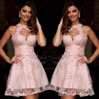 Wholesale Semi Sheer Formal Dress - Semi Formal Cocktail Dresses 2017 Illusion High Neck Blush Pink Lace Homecoming Dresses Sheer Neck Short Prom Party Gowns Sleeveless 1059