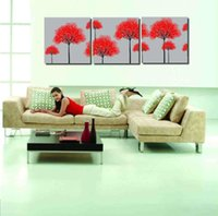 Wholesale Tree Life Artwork Paintings - Modern Landscape sTrees Free shipping Modern Painting Wall Art Black White and Red Tree Picture Painting on Canvas Artworks for living Room