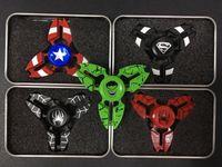Wholesale Avenger Toys - Captain America Shield Crab Hand Spinner Spiderman Hulk Super Hero Finger Toys Spinner Spiderman Avenger Heroes Handspinner