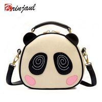 Wholesale Panda Face Bag - Wholesale- Cute Panda Bear Face Women Bag Baby Girl Mini Shoulder Bag For Women Cross Body Bags Lady PU Leather Handbags Animal CX055
