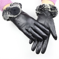 Wholesale Rex Gloves - Wholesale- Tactical Gloves Leather Gloves Female Rex Fur Style Sheepskin Thick False Rabbit Lining Autumn And Winter Warm Free Shipping