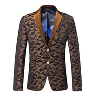 Wholesale New hot autumn brand casual outerwear suit dress men s Camouflage print blazer singer stage nightclub costumes coat M XL