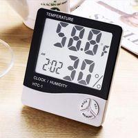 termómetros interiores al por mayor-HTC-1 LCD de alta precisión Termómetro digital Higrómetro Temperatura electrónica Humedad Medidor blanco Reloj Estación meteorológica interior DHL
