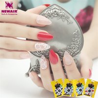 Wholesale Ongles Design - Wholesale- New 24pcs Stiletto False Nails with Designs Full Cover Fake Nails Acrylic Nail Art Tips Fuax Ongles Women Gift Decorated Nail