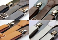 Venta al por mayor-Clip-on Mens Mensajero Señoras Unisex Adjustable Braces Faux Leather Suspenders LK