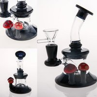 negro fabuloso al por mayor-Dos funciones de tuberías de agua de vidrio negro plataformas petroleras doble aspecto delicado vidrio bong diseño único burbujeador de vidrio de espesor fab huevo fumar pipa