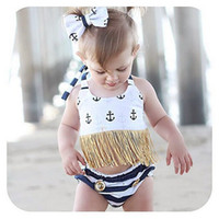 Wholesale Hot Girl Bikini Top - Ins Hot 2017 Childrens Two Pieces Swimsuits Baby Girl Halter Tassel Tops with Striped Short pants Babies Summer Fashion Bikini