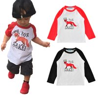 Schwarze T-shirt Neue Art Kaufen -Neue Karikatur-Fox-Jungen-T-Stücke OBEN OH- FÜR SAKE! Letter Printed Long Sleeve T-Shirts Kinder Pure Cotton T-Shirt Casual Tops Red Schwarz A6564