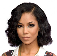 Wholesale Burmese Wavy - Short Bob Wigs Brazilian Virgin Human Hair Glueless Lace Front Wigs Virgin Hair Cuts Cheap Wavy Wig
