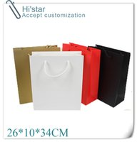 Wholesale Custom Paper Shopping Bags - Wholesale- 26*10*34CM 10pcs Art Paper Hand Length Handle custom personalized clothes shoes shopping paper bag