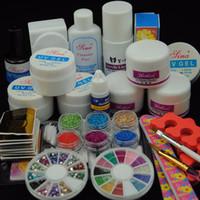 Wholesale Top Nail Acrylic Powder - Nail Tools Sets Kits Acrylic Powder With Liquid UV Gel Primer Top Coat Crystal Glitter Rhinestones Nail Form Brush Nail Tools Builder