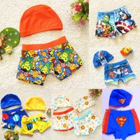 Wholesale Boys Swim Hat - Beach Holiday Swim Trunks Swim Caps + Pants 2 piece Sets Cartoon Lion Fish Car Board Shorts Hot Spring Boy's Hat Pant Swimwear A6437