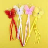 princesa de hadas mariposa al por mayor-Nuevos Colores Princesa Mariposa Fairy Wand Magic Sticks Birthday Party Favor Girl Gift 4Color Blanco Rosa Rojo Amarillo