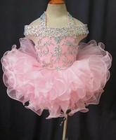 elbiseler kristal organze toptan satış-2019 Yürüyor Pageant elbise Pembe Organze Kek Çocuklar Balo Abiye Kristal Boncuklu Aç Geri Yay Ile Örgün Küçük Kızlar Doğum Günü Partisi Elbise