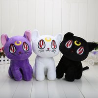 Wholesale Sailor Moon Cats Stuffed Animals - 30cm Sailor Moon Purple Cat Luna Stuffed Animal Plush Doll Toys Gifts For Kids