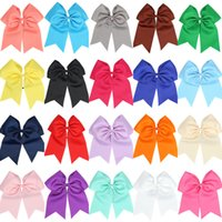 "Wholesale Wholesale Cheer Bows - 25Pcs lot Hot Sale 8"" Large Cheer Bow Baby Girl Solid Ribbon Cheer Bows With Elastic Band Handmade Girls Cheerleading Bow"