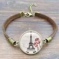 hermosas fotos de época al por mayor-Nuevo 5 unids Vintage Brown Cuerda Pulsera Hermosa Torre Eiffel de Cristal Imagen de Arte Hecho A Mano DIY Pulseras Del Encanto para Mujeres Hombres Joyería