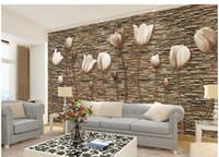 ingrosso tulipano murale-Personalizzato 3D Tulip Mural Wallpaper Soggiorno camera da letto Divano TV Sfondo muro Immagini decorative 3D Flower Art Photo Wallpaper