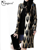 Wholesale Leopard Knit Sweater - Wholesale-TANGNEST 2016 Winter Loose Long Knitting Cardigan Ladies Sweater Women Coat Vintage Outwear Leopard Bronzing Cardigan WZL723