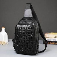 Wholesale Matching Chests - Factory sales brand new fashion sheepskin bag stitching chest pack outdoor leisure travel shopping all-match rivet sheepskin man chest bag