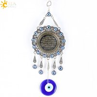 Wholesale Evil Eye Amulets - CSJA Trendy Islamic Quran Koran Pendulum Hanging Pendants Turkey Evil Eye Blue Muslim Religious Charms Amulet Big Jewelry E287