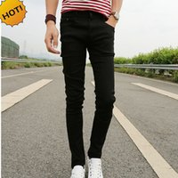 Wholesale Cheap Trouser Jeans - New 2017 Spring Summer Skinny jeans mens leisure stretch feet pants tight black length trousers Cheap Pencil Pants Men wholesale