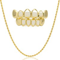 Wholesale Hollow Rope Chain - Hip Hop Custom Fit Gold Color Teeth Four Hollow Open Face Gold Mouth GRILLZ Caps Top & Bottom Grill set with Rope Chain
