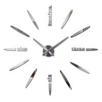 Wholesale diy wall clock metal - Wholesale- 2016 Top Fashion Diy 3d Clock Watch Wall Clocks Acrylic Mirror Home Decoration Quartz Circular Needle Modern Metal Free Shipping