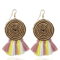 Wholesale Long Silk Earrings - Bohemian Lollipop Long Tassels Drop Earring Female Black Silk Thread Ethnic Vintage Cute Khaki Earrings For Women Gift Statement Jewelry