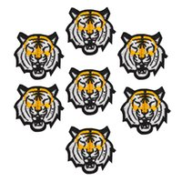 Wholesale Tiger Iron Patches - 10pcs Tiger patches animal badge for clothing iron embroidered patch applique iron sew on patches sewing accessories for clothes
