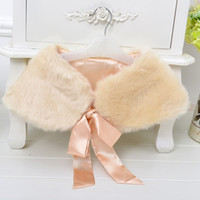 Wholesale christmas shawl for girls - 2017 New Winter Warm Flowers Girl Lace up Capes shawl Wedding Dress faux fur stole Wraps Cap jacket for party gown dinner Champagne