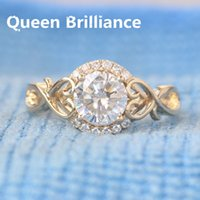 Queen Brilliance 1 Ct F Color Moissanite Diamond Engagement Ring de boda con Moissanite Acentos 14K 585 Oro amarillo para mujer 17903
