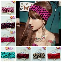 Wholesale Hair Bandage - 10pcs lady Velvet Twist Head Wrap girl Vintage Neon Earmuffs polka dot Hair Band Turban pleuche Headband Bandana Bandage FD6629